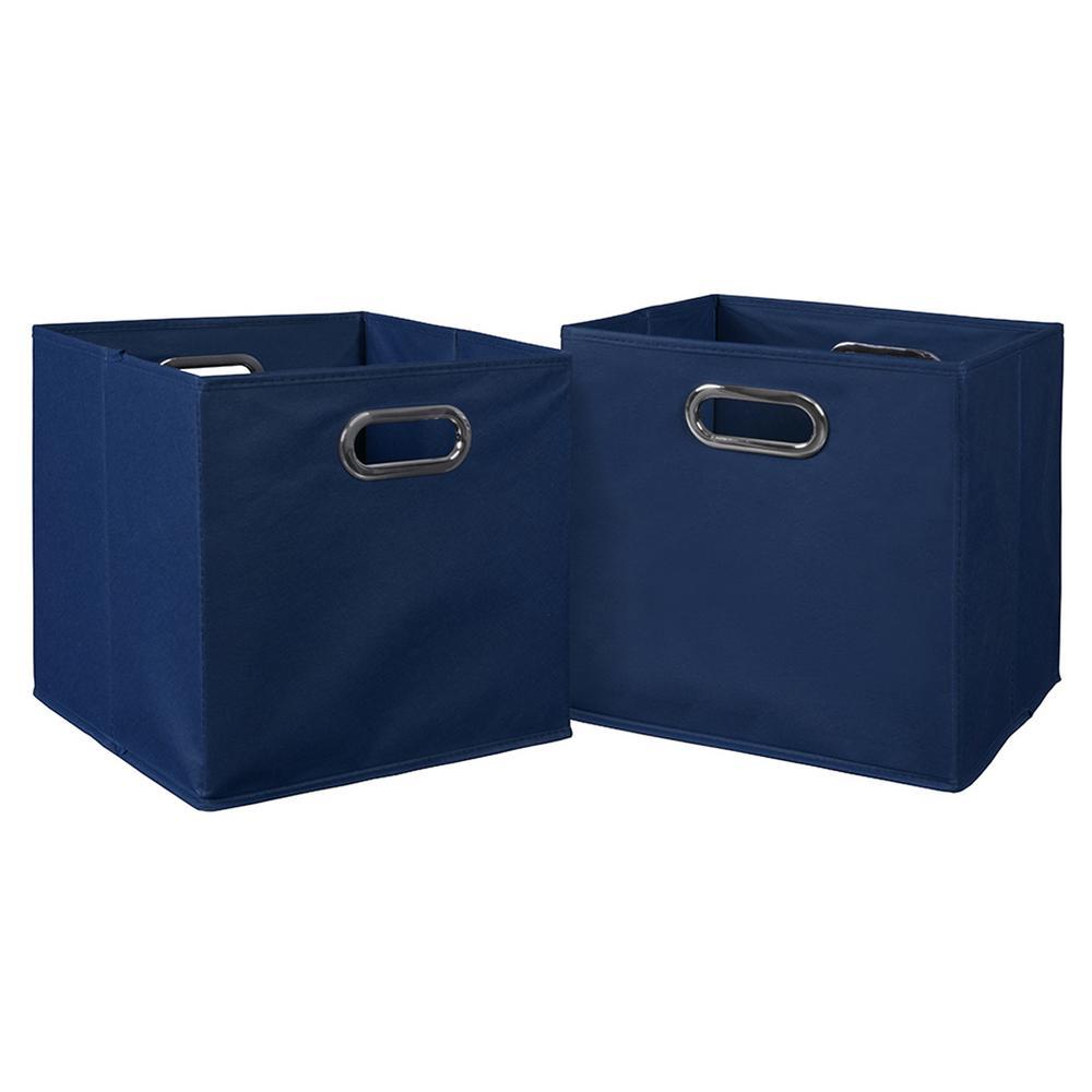 Cubo 12 in. x 12 in. Blue Foldable Fabric Bin (2-Pack)