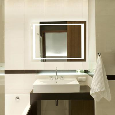 36 in. W x 28 in. H Single Wall Mounted Anti-Fog Frameless Rectangular LED Light Bathroom Vanity Mirror in Silver