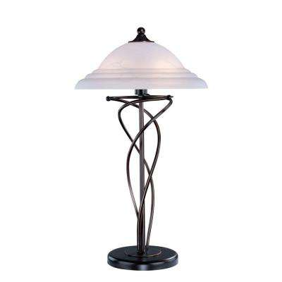 28.5 in. Dark Bronze Table Lamp with Cloud Glass