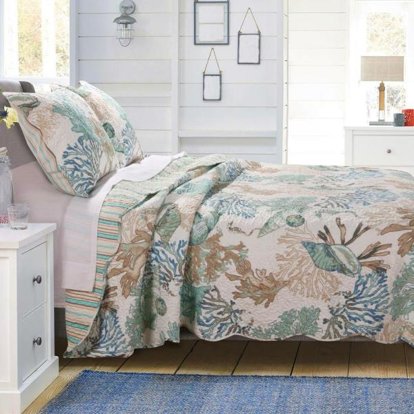 Barefoot Bungalow Atlantis Jade 3-Piece Full/Queen Quilt Set GL-1810AMSQ