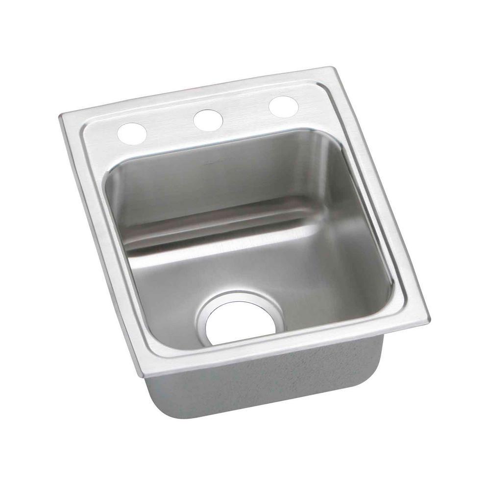 elkay lustertone drop in stainless steel 13 in  2 hole single bowl kitchen elkay lustertone drop in stainless steel 13 in  2 hole single bowl      rh   homedepot com