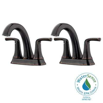 Ladera 4 in. Centerset 2-Handle Bathroom Faucet in Tuscan Bronze(2-Pack)