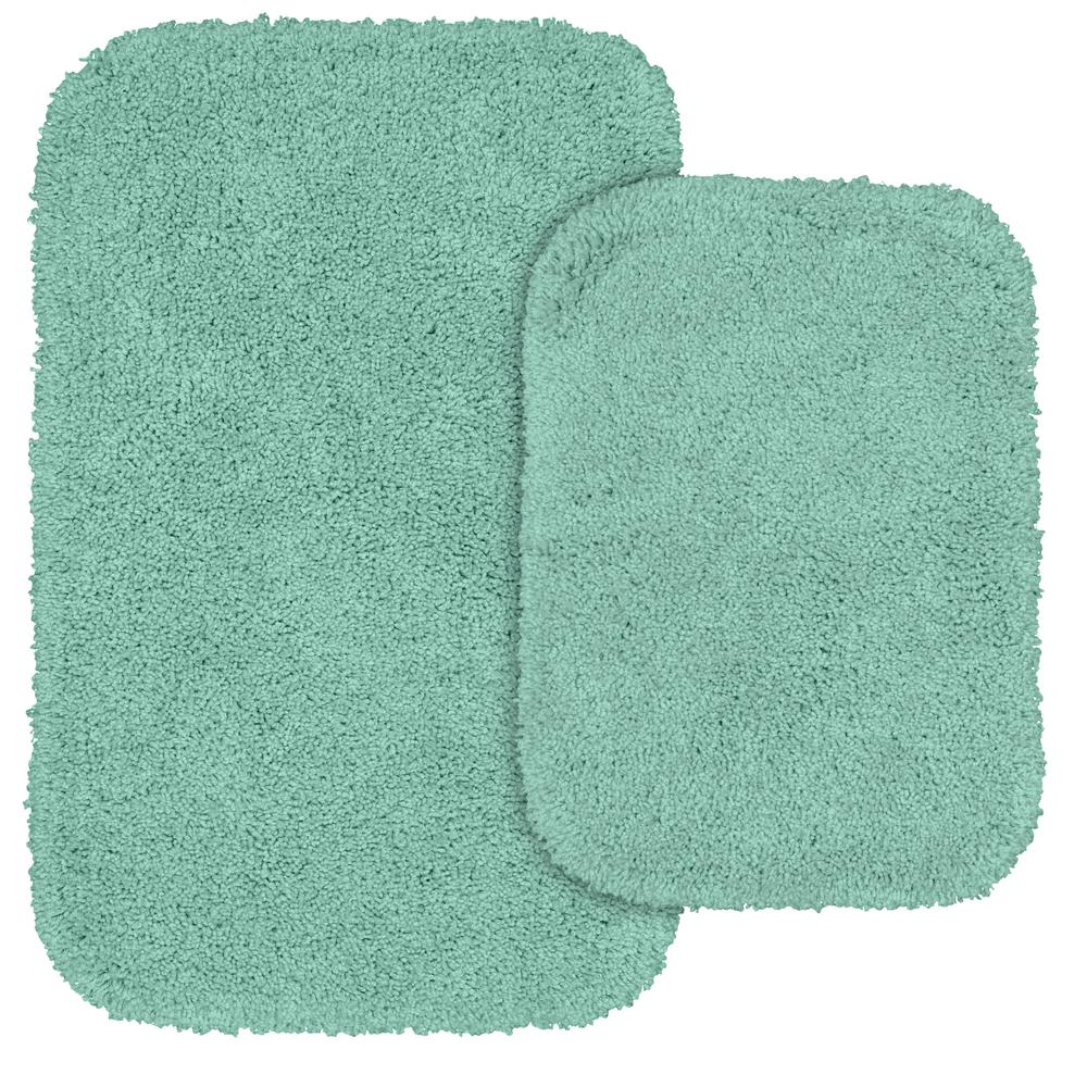 Serendipity 2 Piece Washable Bathroom Rug Set in Sea Foam
