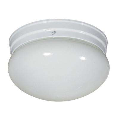 2-Light White Flush Mount with White Glass Shade