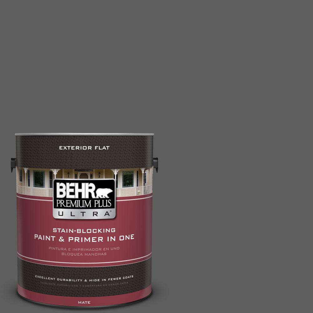 1 gal. #N520-6 Asphalt Gray Flat Exterior Paint and Primer in