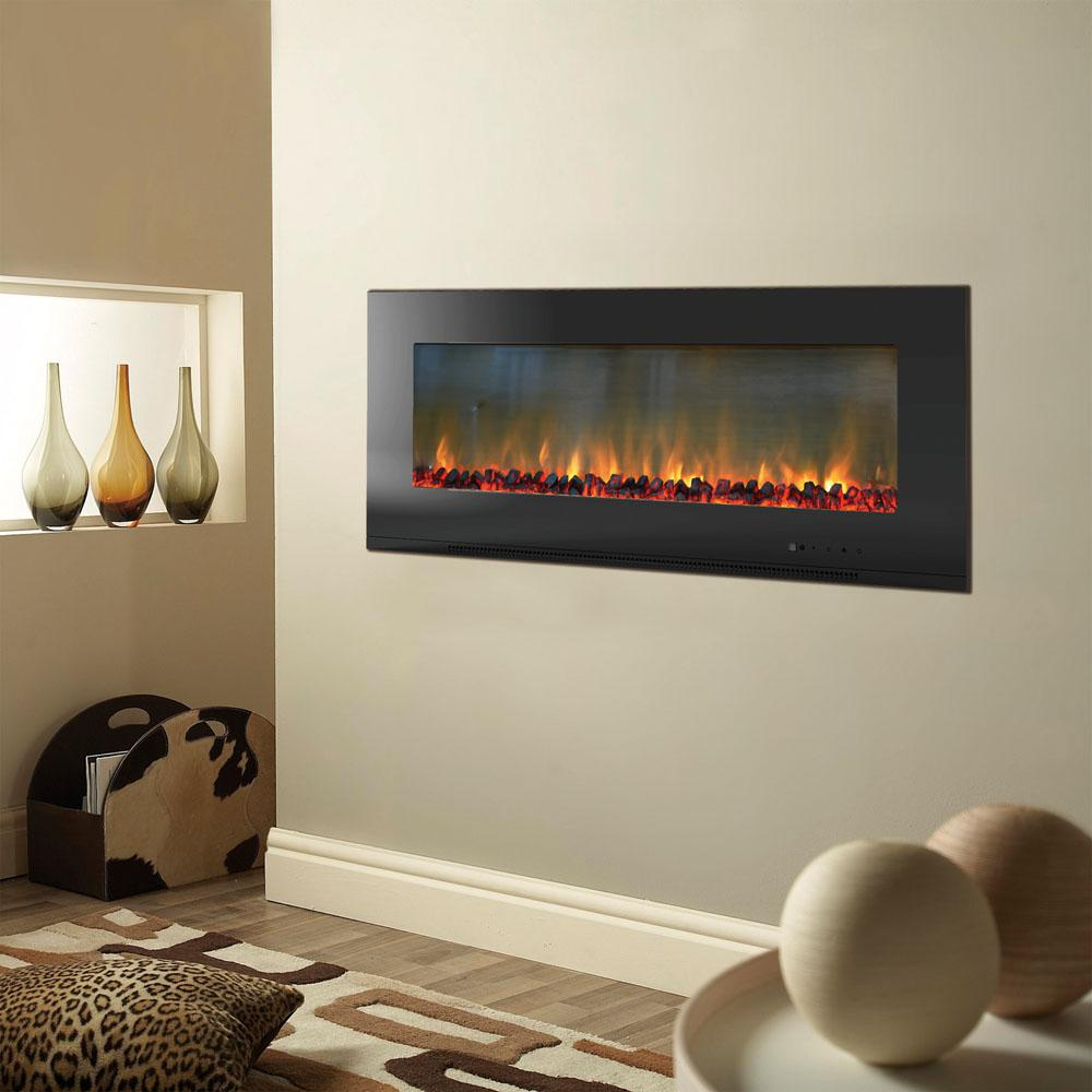 Metropolitan 56 in. Wall-Mount Electic Fireplace in Black