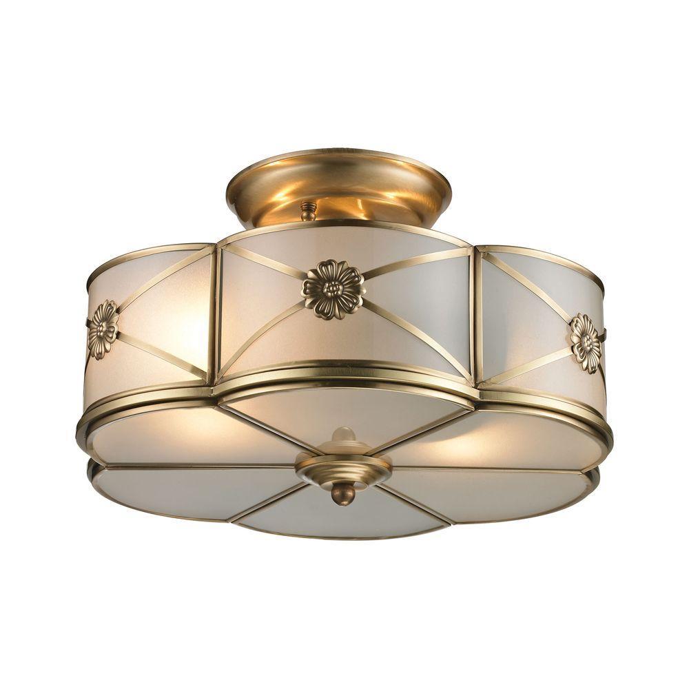 Preston 2-Light Brushed Brass Semi Flush Mount