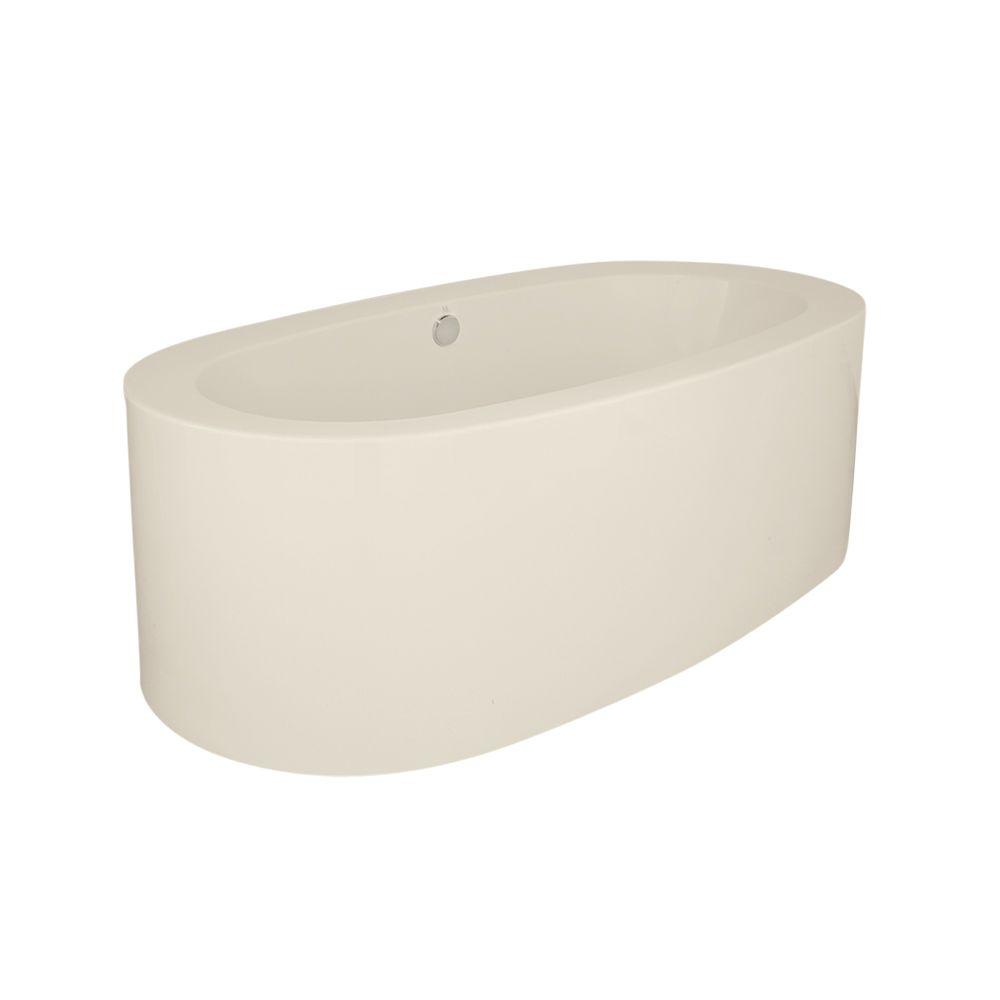 Shreveport 6 ft. Center Freestanding Air Bath Tub in Biscuit