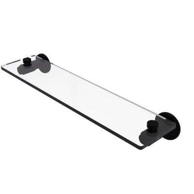 Tribecca Collection 22 in. Glass Vanity Shelf with Beveled Edges in Matte Black