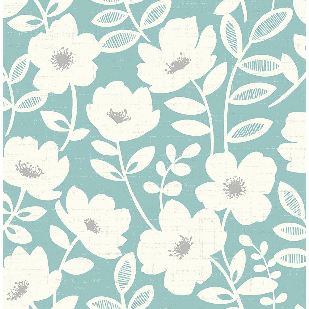 Brewster 8 in. x 10 in. Bergman Teal Scandi Flower Wallpaper