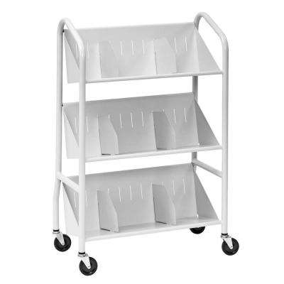 29 in. W Sloped 3-Shelf Book Cart with Dividers in Platinum
