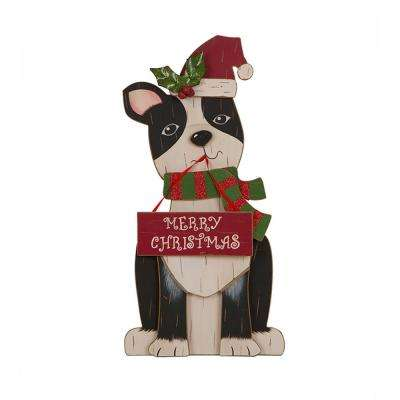 16 in. H Wooden Christmas Figurines Decor, Dog