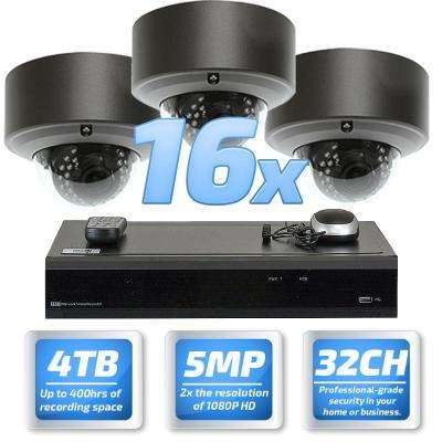 32-Channel 5MP DVR 4TB HDD Surveillance System with 16 Wired IP Cameras 2.8 - 12 mm Dome Varifocal Zoom 98 ft. IR