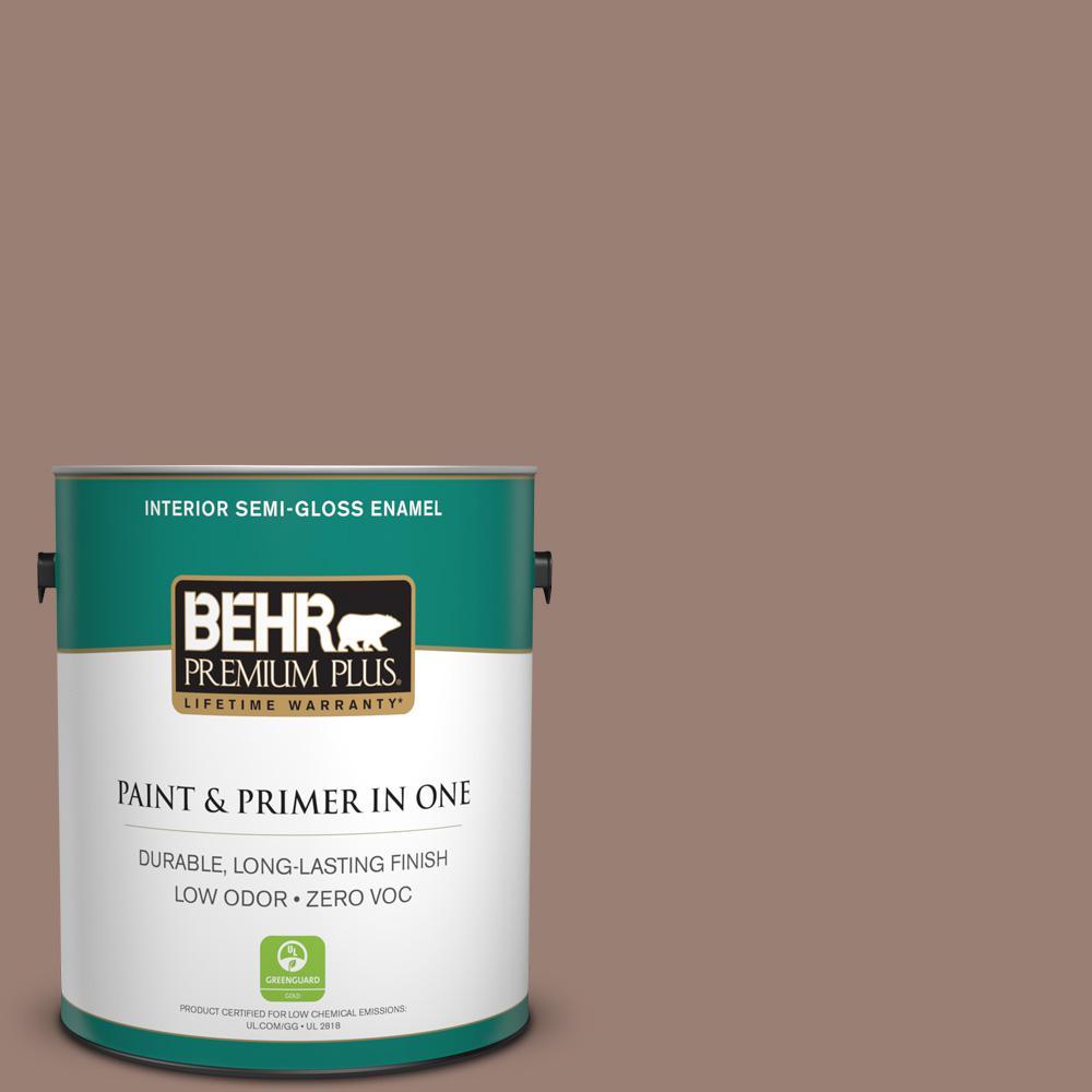 BEHR Premium Plus 1-gal. #N190-5 Frontier Brown Semi-Gloss Enamel Interior Paint