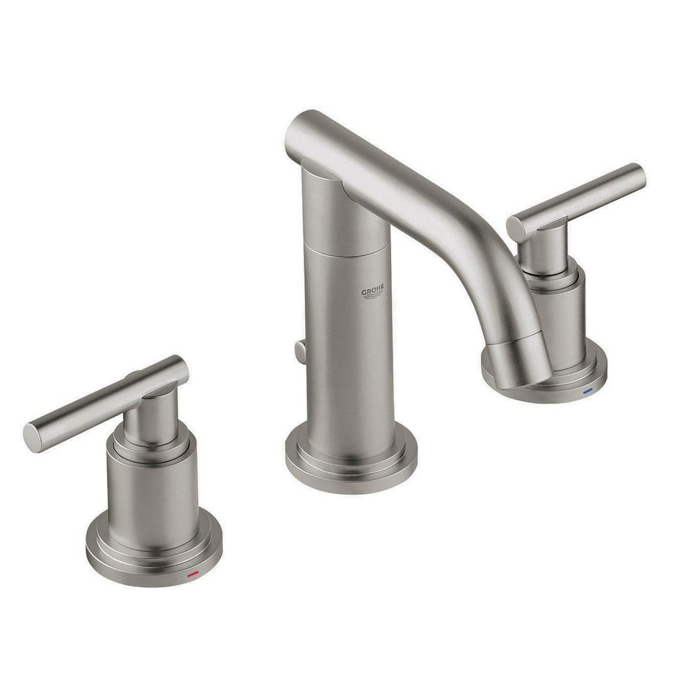 Grohe Atrio 8 In Widespread 2 Handle 1 2 Gpm Bathroom Faucet In Brushed Nickel Infinity Finish