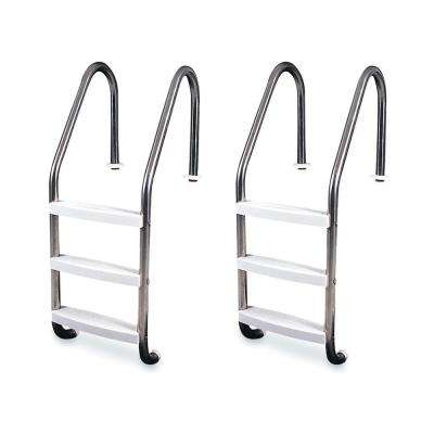 3-Step Stainless Steel In-Ground Swimming Pool Ladder Steps (2-Pack)