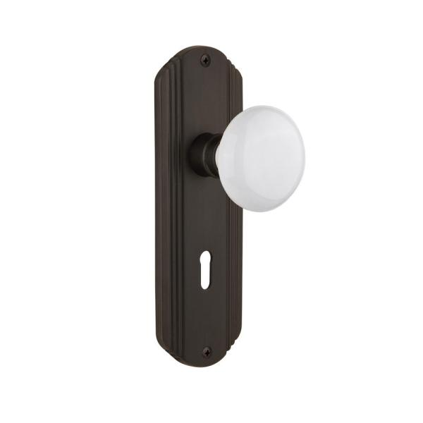 Nostalgic Warehouse Deco Plate With Keyhole 2 3 8 In Backset Oil Rubbed Bronze Privacy Bed Bath White Porcelain Door Knob 705412 The Home Depot