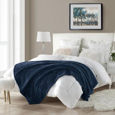 60 in. x 70 in. Navy Super Plush High Pile Faux Fur Oversized Throw Blanket