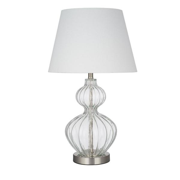 Cresswell 23 75 In Clear Glass Finish Modern Table Lamp And Led Bulb Bm1661 01 The Home Depot