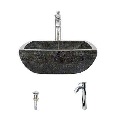 Stone Vessel Sink in Butterfly Blue Granite with 726 Faucet and Pop-Up Drain in Chrome
