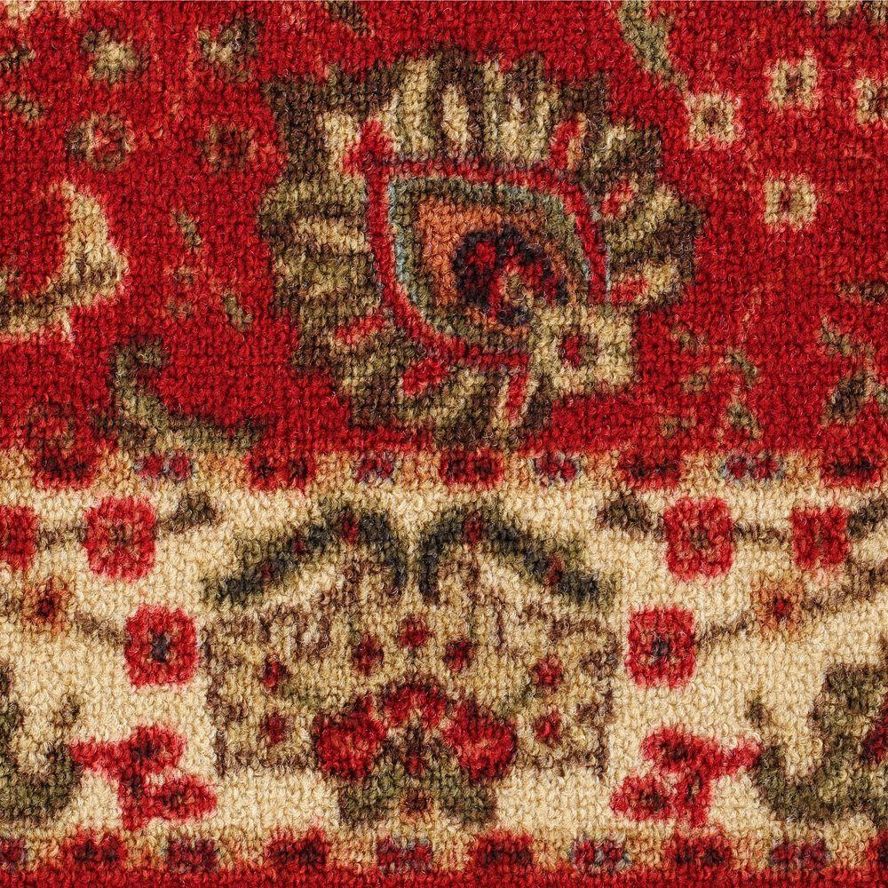 Ottomanson Traditional Floral Design Dark Red 2 Ft X 7 Ft: Carpet Hall Runners Home Floor Hallway Runner Rug Rugs Non
