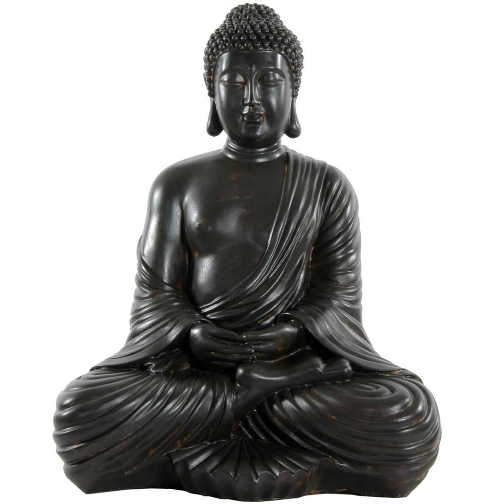 Oriental Furniture 17 in. Japanese Sitting Buddha Decorative Statue