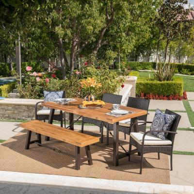 6-Piece Wicker, Wood and Iron Rectangular Outdoor Dining Set with Cream Cushion