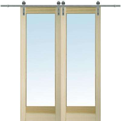 72 in. x 96 in. Clear 1 Lite Unfinished Poplar Double Sliding Barn Door with Hardware Kit