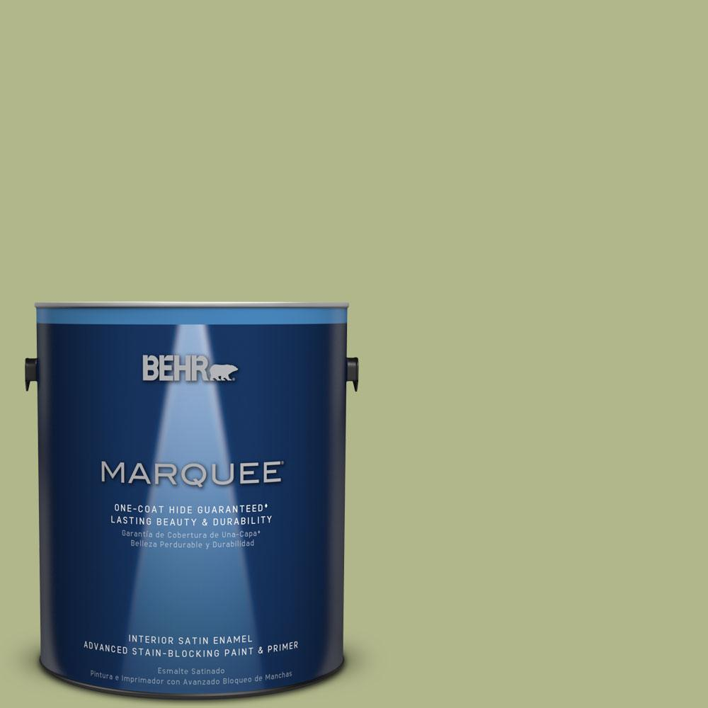 1 gal. #M350-4 Sweet Grass One-Coat Hide Satin Enamel Interior Paint