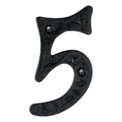 Hammered 4 in. Black House Number 5