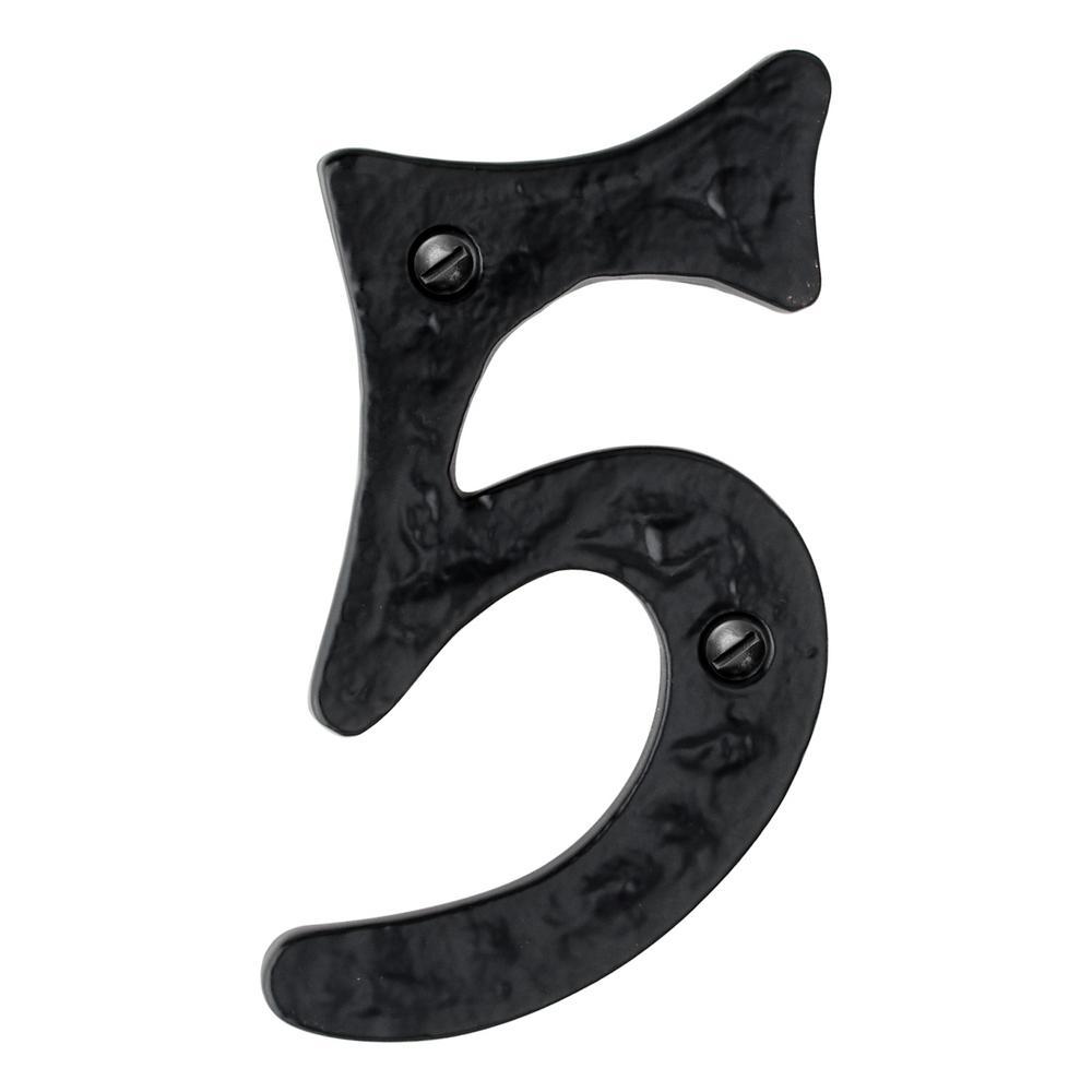 Hammered 4 in. Black House Number 5