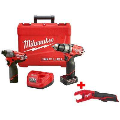 M12 FUEL 12-Volt Lithium-Ion Brushless Cordless 1/2 in. Hammer Drill/Impact Combo Kit w/ Free M12 Copper Tubing Cutter