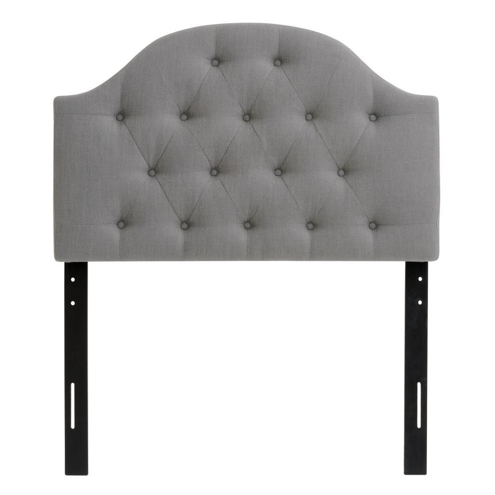 Light Grey Single Diamond Button Tufted Fabric Arched Panel Headboard