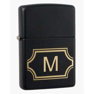 "Black Matte Lighter with Initial ""M"""