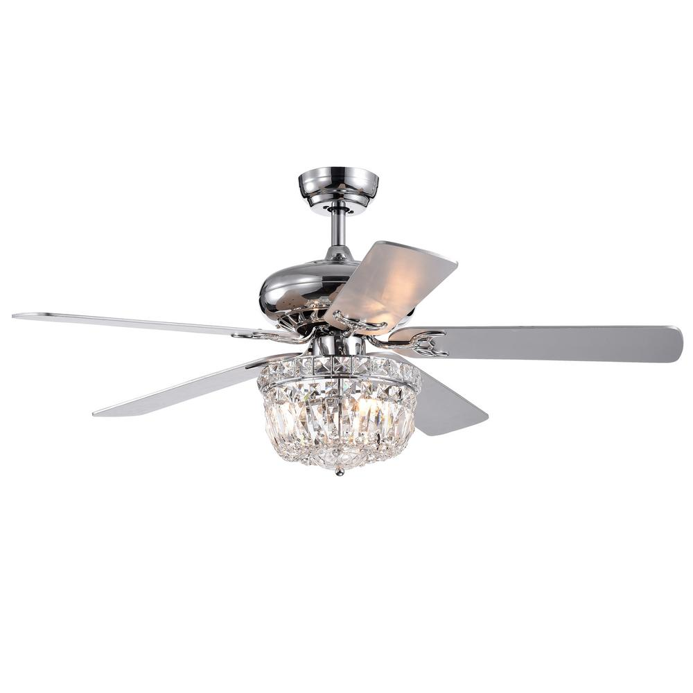 Warehouse Of Tiffany Galileo 52 In Chrome Crystal Bowl Shade Ceiling Fan With Light Kit And Remote Control