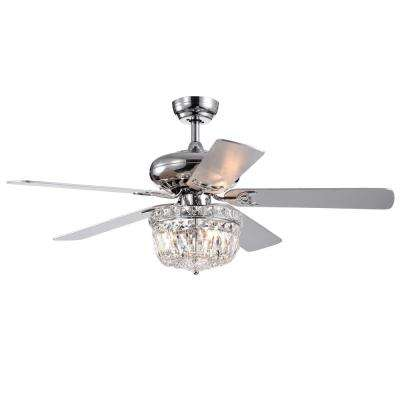 Galileo 52 in. Chrome Crystal Bowl Shade Ceiling Fan with Light Kit and Remote Control