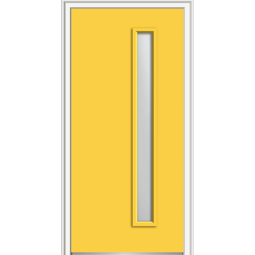 36 in. x 80 in. Viola Left-Hand Inswing 1-Lite Frosted Midcentury Painted Fiberglass Smooth Prehung Front Door