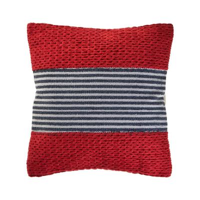 Bright Red 20 in. x 20 in. Striped Throw Pillow