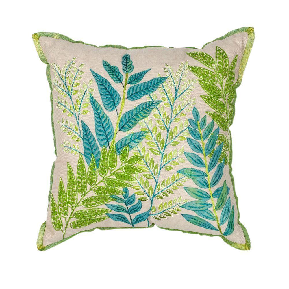 Kas Rugs Botanical Affair Blue Green Decorative Pillow