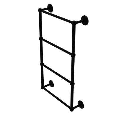 Monte Carlo Collection 4 Tier 30 in. Ladder Towel Bar with Groovy Detail in Matte Black