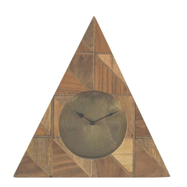 Brown Wood Triangle Table Clock