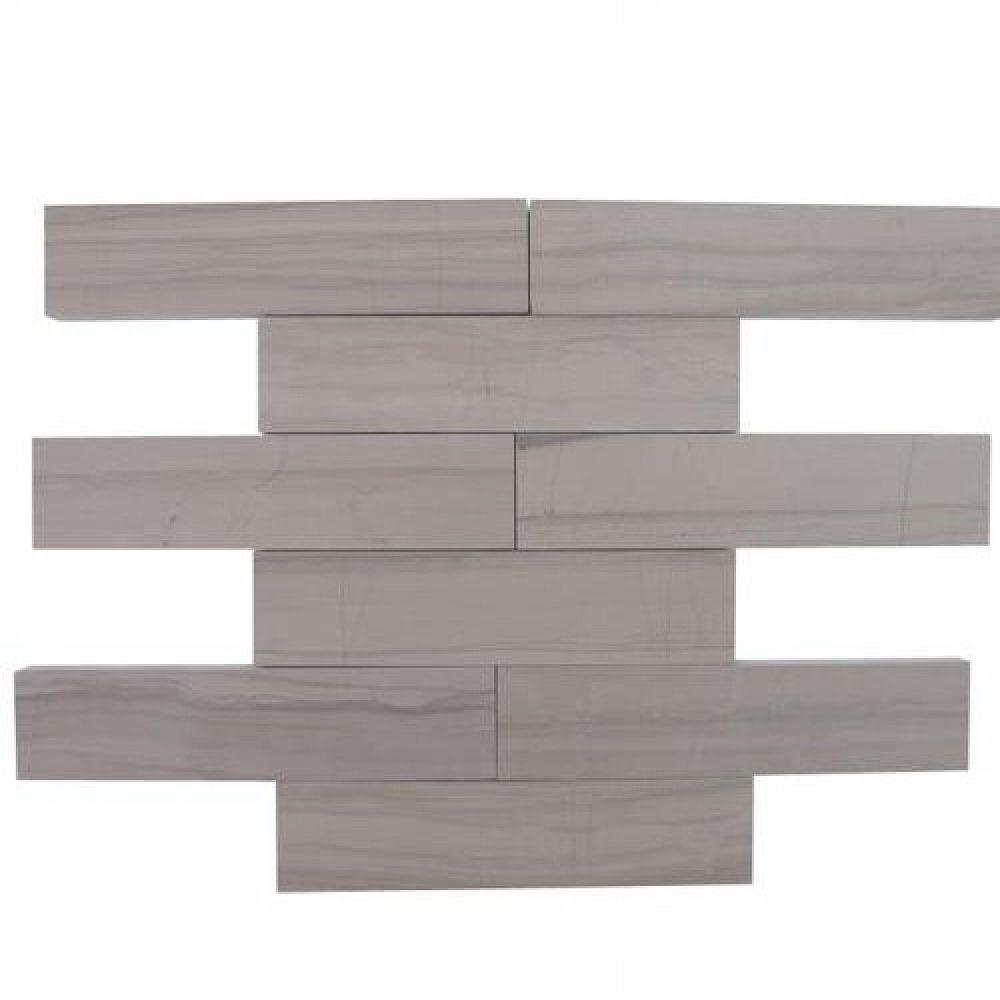 Brushed Athens Gray Marble Mosaic Tile - 2 in. x 8