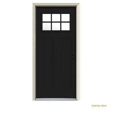 30 in. x 80 in. 6 Lite Craftsman Black Painted Steel Prehung Left-Hand Inswing Front Door w/Brickmould
