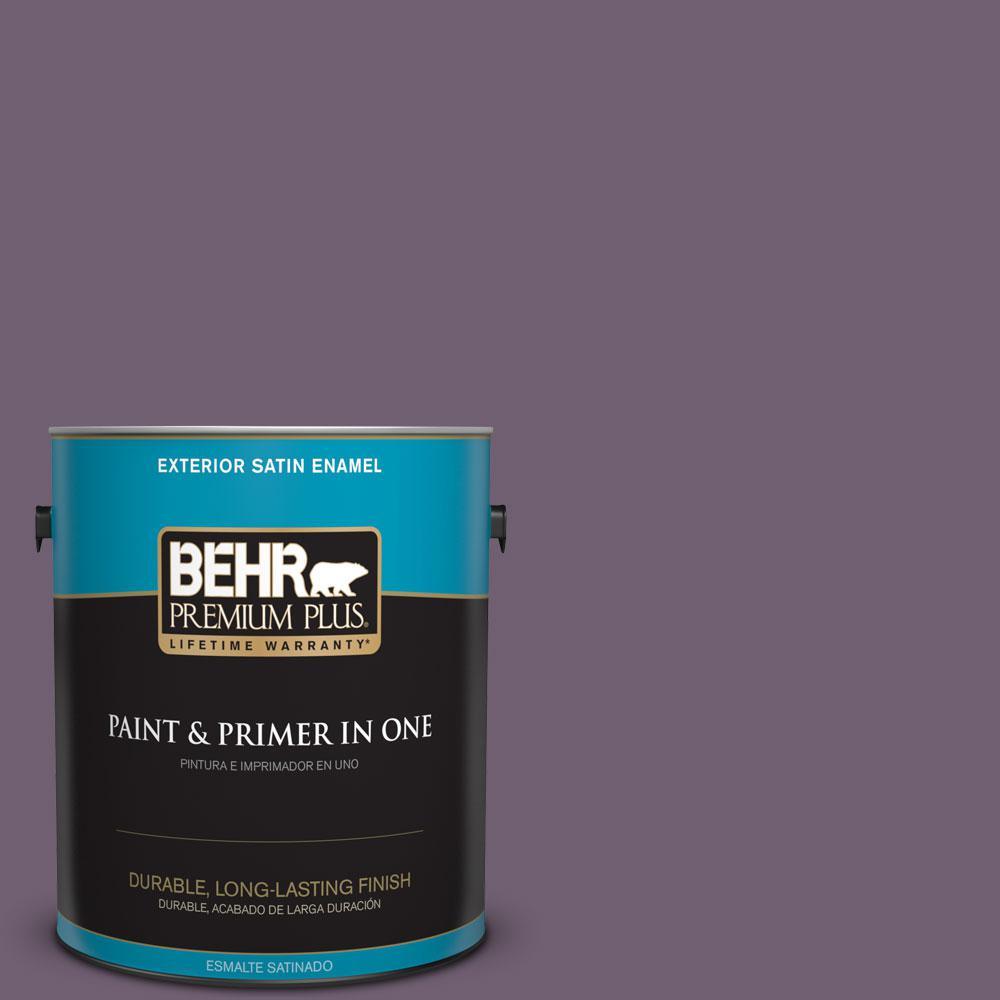 BEHR Premium Plus 1-gal. #S100-6 Blackberry Jam Satin Enamel Exterior Paint