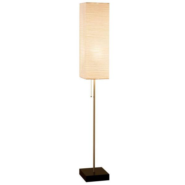 60 in. Brushed Nickel Floor Lamp with Paper Shade and Decorative Faux Wood Base