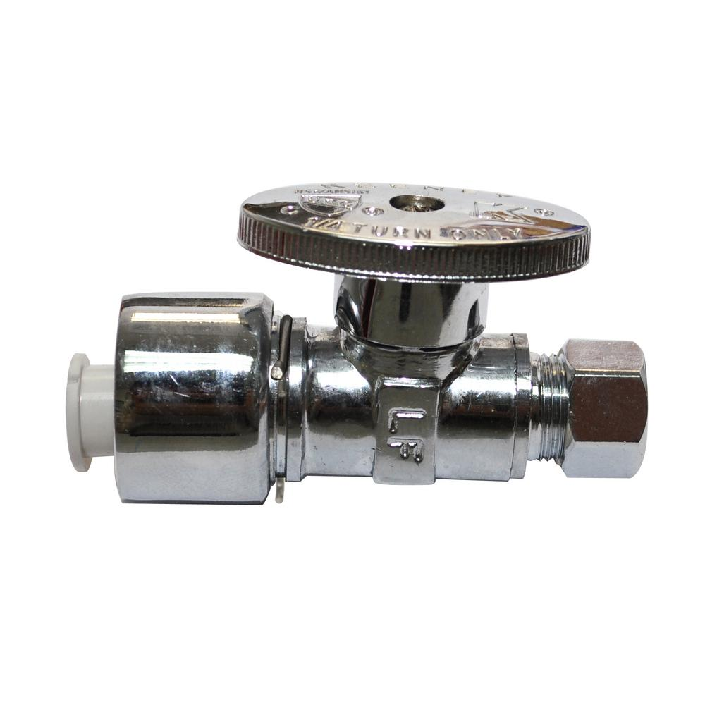 5/8 in. x 3/8 in. Quick Lock Quarter Turn Straight Valve in Polished Chrome