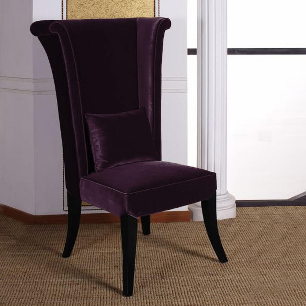 Purple Velvet And Black Wood Finish Dining Chair