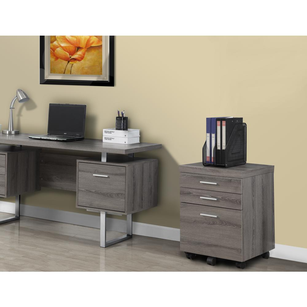 Monarch Specialties 3 Drawer File Cabinet With Castors In Dark Taupe  Reclaimed Look