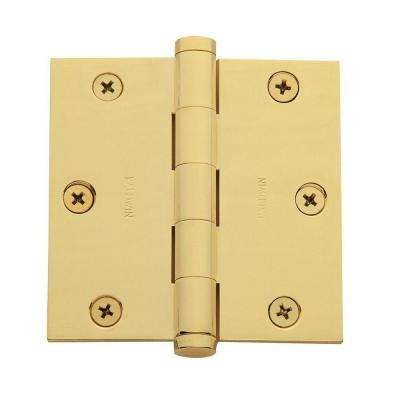 3.5 in. x 3.5 in. Lifetime Polished Brass Square Hinge
