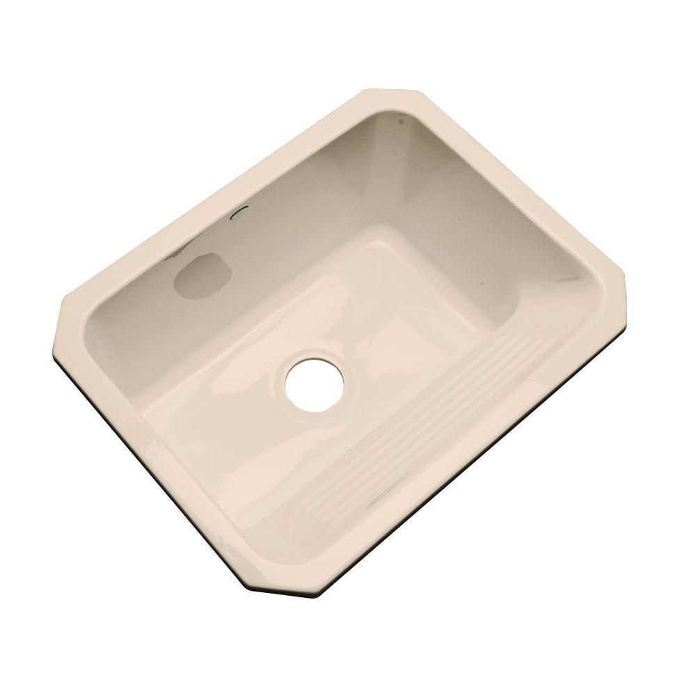 Thermocast Kensington Undermount Acrylic 25 in. Single Bowl Utility Sink in Peach Bisque